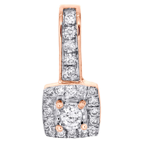 "10K Rose Gold Round Diamond Cluster Fancy Slide Pendant 0.60"" Pave Charm 1/5 CT."