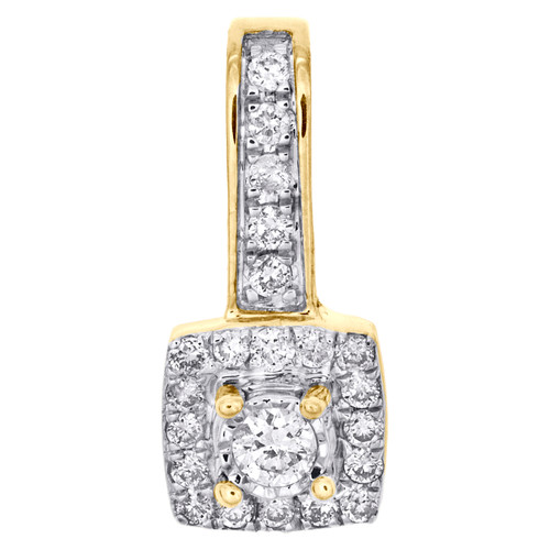 "10K Yellow Gold Diamond Cluster Fancy Halo Slide Pendant 0.60"" Pave Charm 1/5 CT"