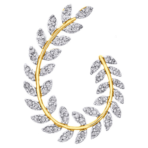 14K Yellow Gold Real Diamond Leaf Frame Oval Wreath Cluster Slide Pendant 3/4 CT