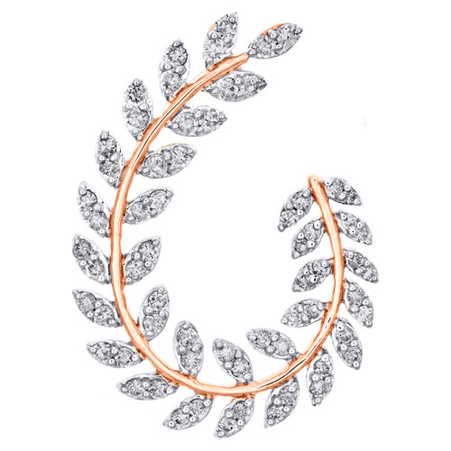 14K Rose Gold Round Diamond Leaf Frame Oval Wreath Cluster Slide Pendant 3/4 CT.