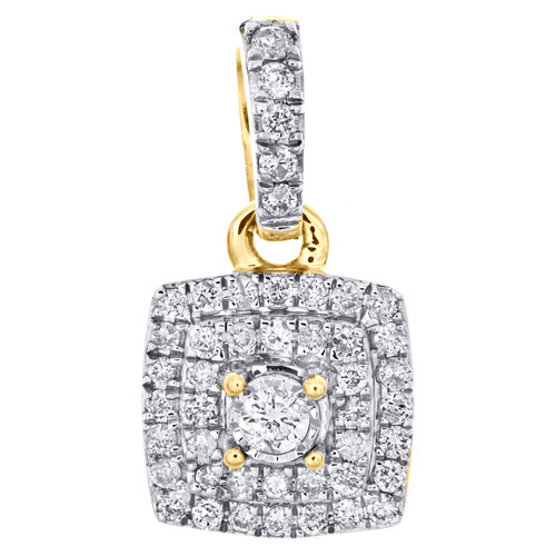 """10K Yellow Gold Real Round Diamond Cluster Pendant 0.65"""" Slide Pave Charm 1/4 CT"""