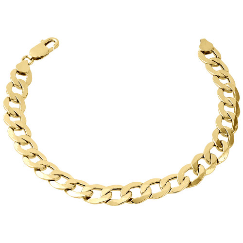 "Men's Real 10K Yellow Gold Hollow Cuban Curb Link 9.50mm Bracelet 8"" - 9"""