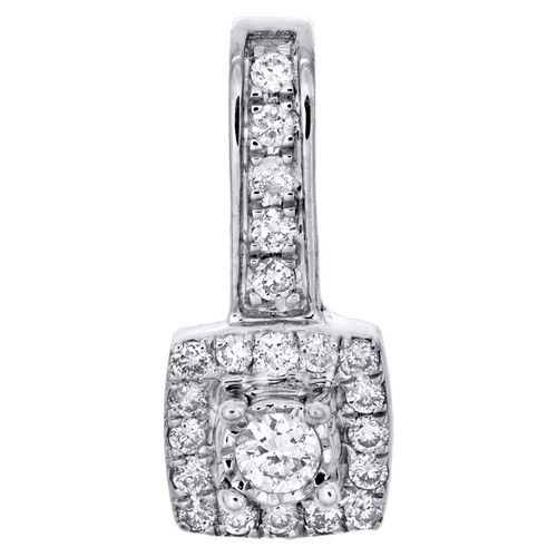 "10K White Gold Diamond Cluster Fancy Halo Slide Pendant 0.60"" Pave Charm 1/5 CT."