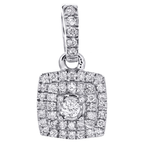 "10K White Gold Real Round Diamond Cluster Pendant 0.65"" Slide Pave Charm 1/4 CT."
