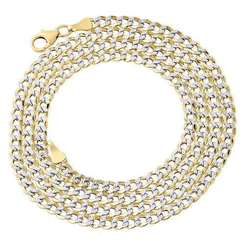 1/10th 10K Yellow Gold 3.30mm Diamond Cut Curb Cuban Chain Necklace 16- 24 Inch