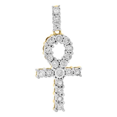 10K Yellow Gold Round Cut Diamond Egyptian Ankh Cross Pendant Mini Charm 0.26 Ct