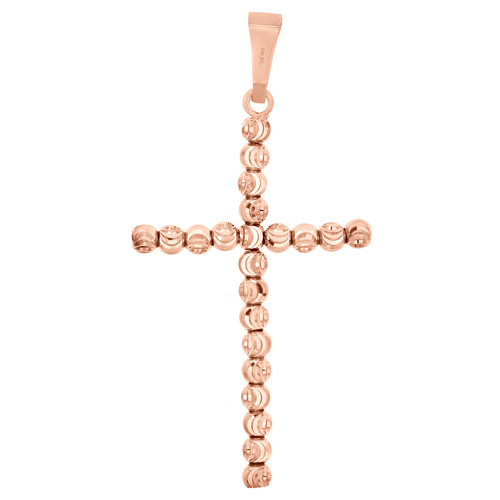 10K Rose Gold 2.50mm Diamond Cut Beaded Moon Cross Pendant Italian Charm 1.65""