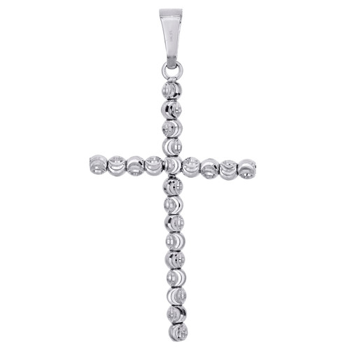 10K White Gold 2.50mm Diamond Cut Beaded Moon Cross Pendant Italian Charm 1.65""