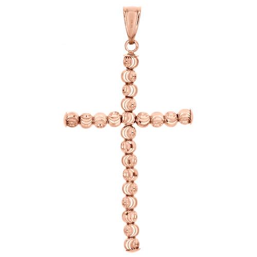 """10K Rose Gold 3mm Diamond Cut Beaded Moon Cut Cross Pendant Italian Charm 1.85"""""""