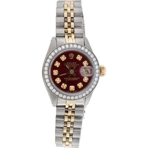 Ladies 6917 Rolex DateJust Jubilee 18K Gold / Steel Diamond Watch Red Dial 1 CT.