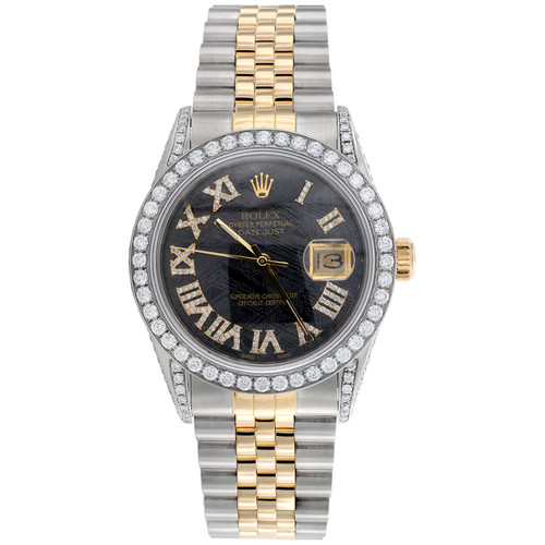 Rolex DateJust 16013 Diamond Watch 18K Gold / Steel 36mm Meteorite Dial 5.40 CT.