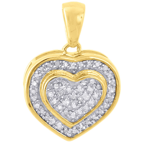 ".925 Sterling Silver Ladies Diamond Double Heart Pendant 18"" Chain Set 0.33 Ct."