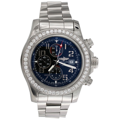 Breitling A13371 Super Avenger 48mm XL Blue Dial Automatic Diamond Watch 3.60 CT