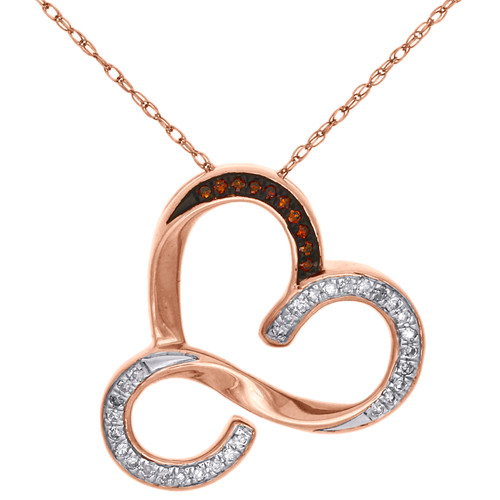 Red Diamond Heart Pendant 10K Rose Gold 0.13 CT. Open Design w/Chain