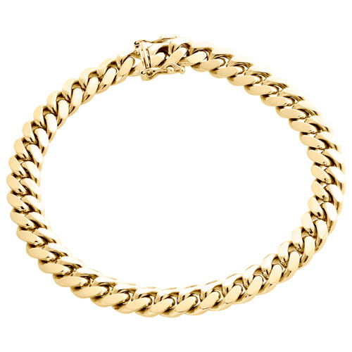 Mens Real 10K Yellow Gold 8mm Solid Miami Cuban Link Fancy Bracelet Box Clasp 9""