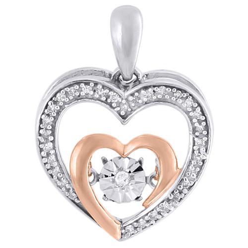 10K White Gold Dancing Diamond Shimmering Double Heart Pendant 0.10 CT.
