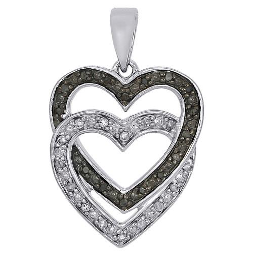 10K White Gold Intertwine Double Hearts Diamond Pendant Charm  1/10 CT.