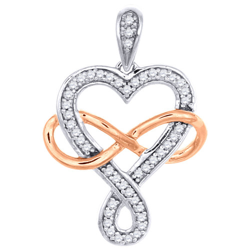 10K Two Tone Gold Round Cut Diamond Heart and Infinity Pendant Charm 0.12 Ct.