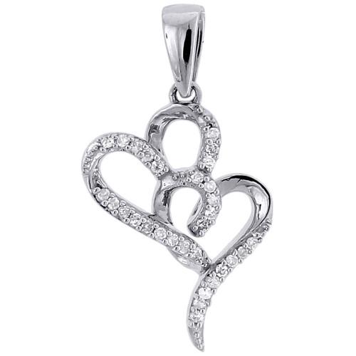 10k White Gold Diamond Double Heart Pendant  Love Necklace 0.10 CT.