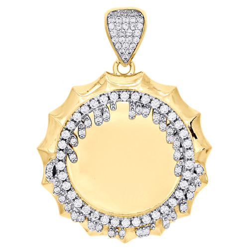10K Yellow Gold Memory Picture Medallion Frame Pendant Cubic Zirconia Drip Charm