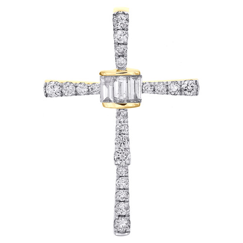 14K Yellow Gold Baguette Diamond Statement Cluster Cross Pendant Charm 5/8 CT.