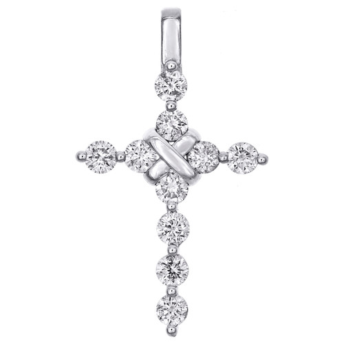 "14K White Gold Round Diamond Statement Cross Pendant 1.2"" Martini Set Charm 1 CT"