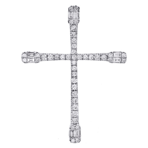 """14K White Gold Baguette Diamond Cluster Cross Pendant 1.50"""" Slide  Charm 3/4 CT."""