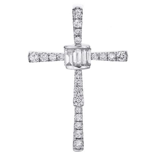 """14K White Gold Baguette Diamond Cluster Cross Pendant 1.25"""" Slide  Charm 5/8 CT."""