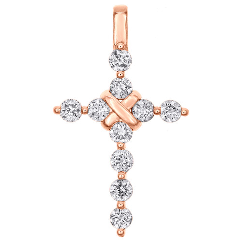 "14K Rose Gold Round Diamond Statement Cross Pendant 1.20"" Martini Set Charm 1 CT"