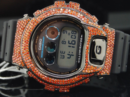 G-SHOCK/G SHOCK CUSTOM DIGITAL WATCH RUBY RED SIMULATED DIAMOND BEZEL JOE RODEO
