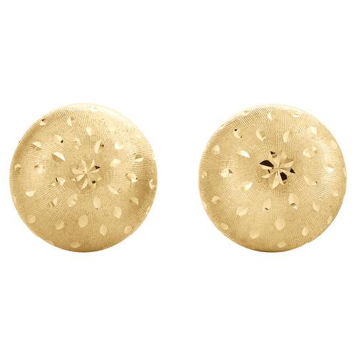 Genuine 14K Yellow Gold 5mm Linen Mirror Diamond Cut Textur Ball Stud Earrings