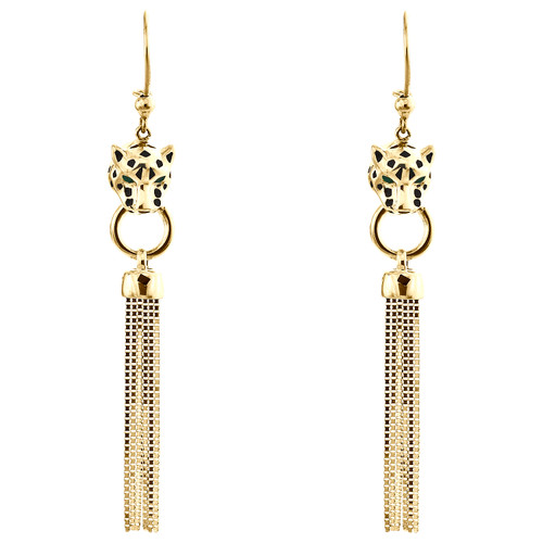 """14K Yellow Gold Black Enamel Panther Head Dangle Drop Chandelier Earrings 2.85"""""""