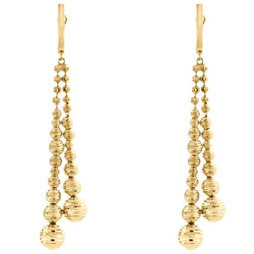 """14K Yellow Gold Graduating Moon Cut Linen Bead Fancy Dangle Drop Earrings 2.90"""""""