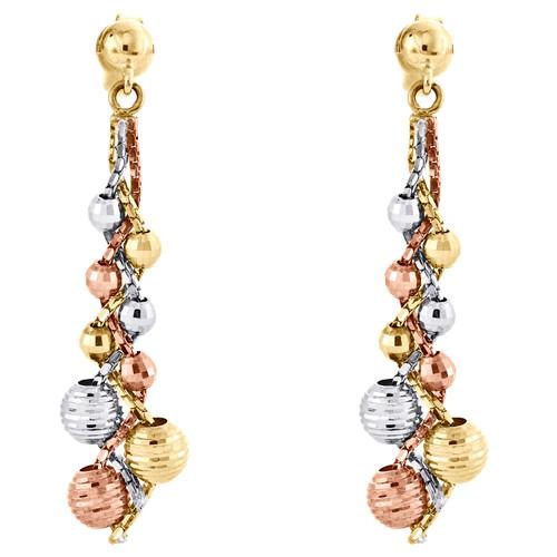 "14K Tri-Color Gold Twisted Diamond Cut Bead Dangle Drop Earrings 1.55"" Danglers"