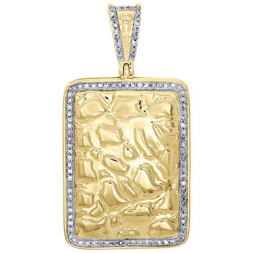 "10K Yellow Gold Diamond Nugget Ore Rectangle Frame Pendant 1.60"" Charm 0.32 CT."