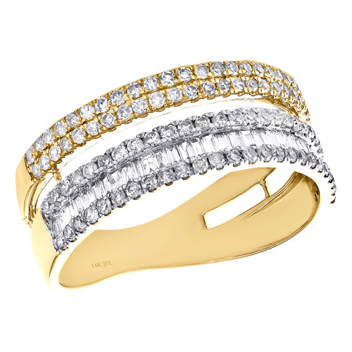 14K Yellow Gold Baguette Diamond Cluster 7.5mm Wedding Ring Parallel Band 3/4 CT
