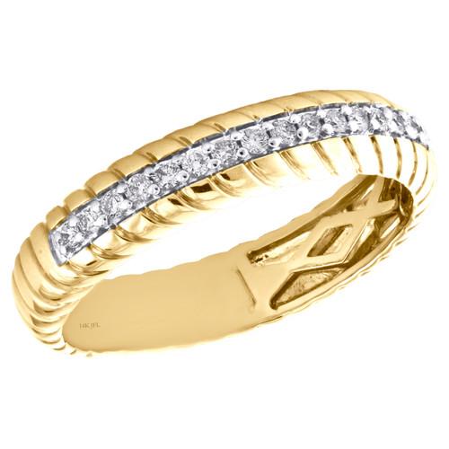 14K Yellow Gold Round Cut Diamond Swirl Eternity Wedding Band 4.50mm Ring 1/5 CT