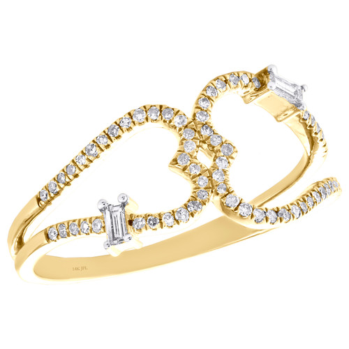 14K Yellow Gold Baguette Diamond Double Heart Ring 9.50mm Cocktail Band 1/5 CT.
