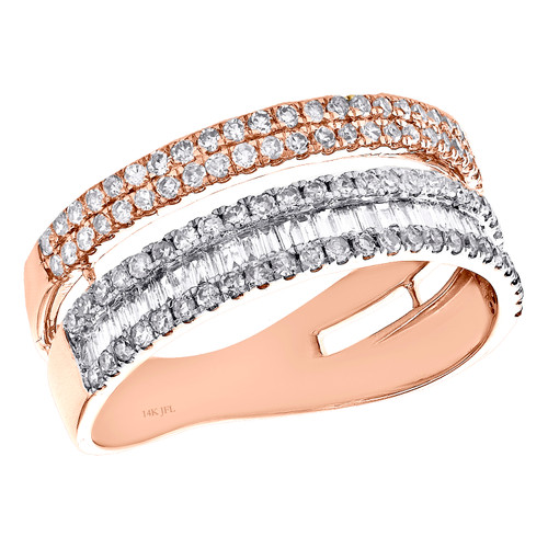 14K Rose Gold Baguette Diamond Cluster Wedding Ring 7.50mm Parallel Band 3/4 CT.