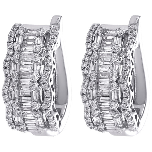 14K White Gold Round & Baguette Diamond Halo Design Fancy Hoop Earrings 1.62 CT.