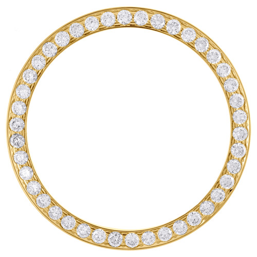 Solid Yellow Gold Beadset Diamond Bezel For 36mm Rolex DateJust Day-Date 2.19 CT