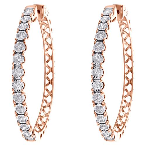 10K Rose Gold Round Diamond Miracle Set Fancy Hoop Statement Earrings 1.50 CT.