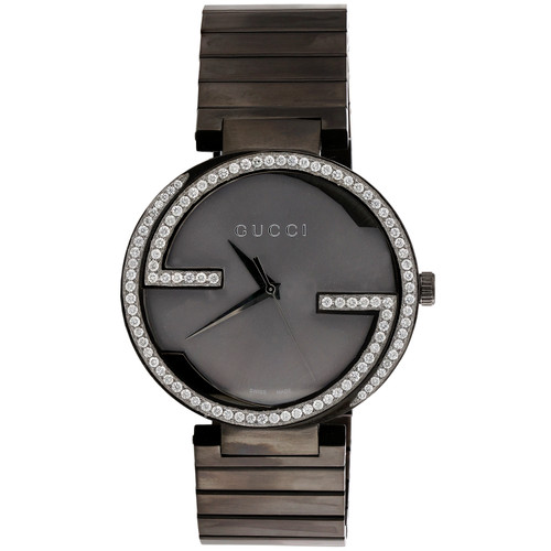 GUCCI Interlocking Anthracite 42mm Gray PVD Steel Ya133210 Diamond Watch 1.50 CT