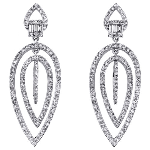 14K White Gold Round Diamond Layer Teardrop Dangler Chandelier Earrings 1 CT.