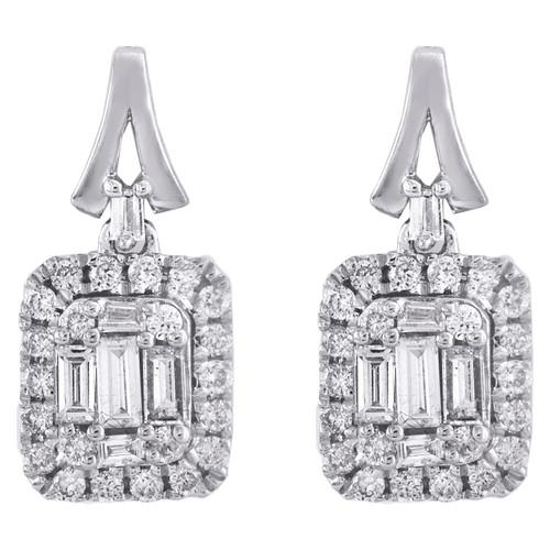 14K White Gold Round & Baguette Diamond Mini Studs Halo Dangler Earrings 1/2 CT.