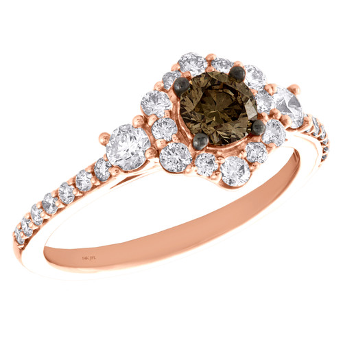 14K Rose Gold 1/2 Ct Solitaire Brown Diamond Halo Flower Engagement Ring 1 TCW