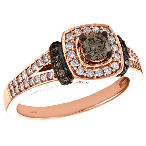 14K Rose Gold 1/3 Ct Solitaire Brown Diamond Split Shank Engagement Ring 3/4 CT.