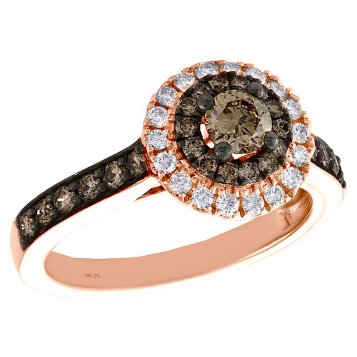 14K Rose Gold 1/3 Ct Solitaire Brown Diamond Halo Round Engagement Ring 0.87 TCW