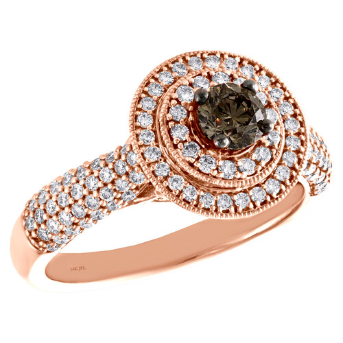 14K Rose Gold 0.37 Ct Solitaire Brown Diamond Halo Domed Engagement Ring 1 CT.