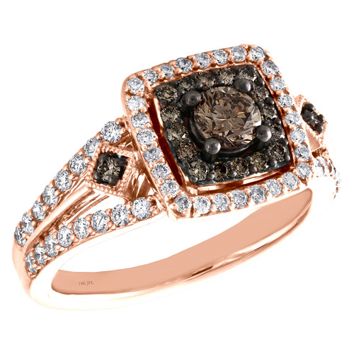 14K Rose Gold 1/3 Ct Solitaire Brown Diamond Split Shank Engagement Ring 1 TCW.